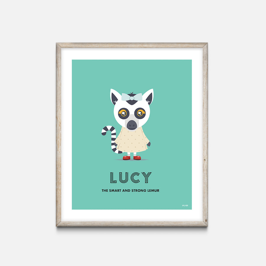 """Lemur"" - Animal Nursery Print Oak Frame - Custom Baby Gifts"
