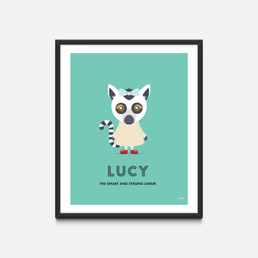 """Lemur"" - Animal Nursery Print Black Frame - Custom Baby Gifts"