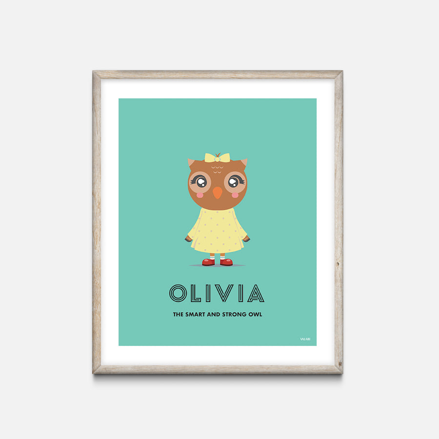 """Owl"" - Animal Nursery Print Oak Frame - Custom Baby Gifts"