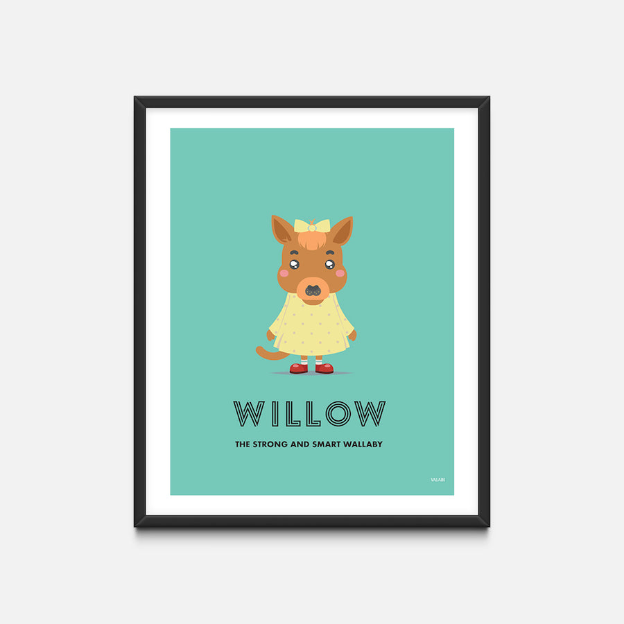 """Wallaby"" - Animal Nursery Print Black Frame - Custom Baby Gifts"