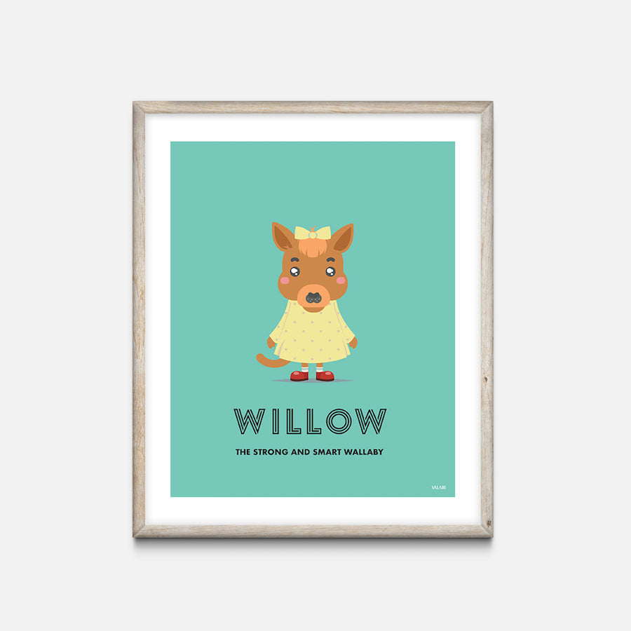 """Wallaby"" - Animal Nursery Print Oak Frame - Custom Baby Gifts"