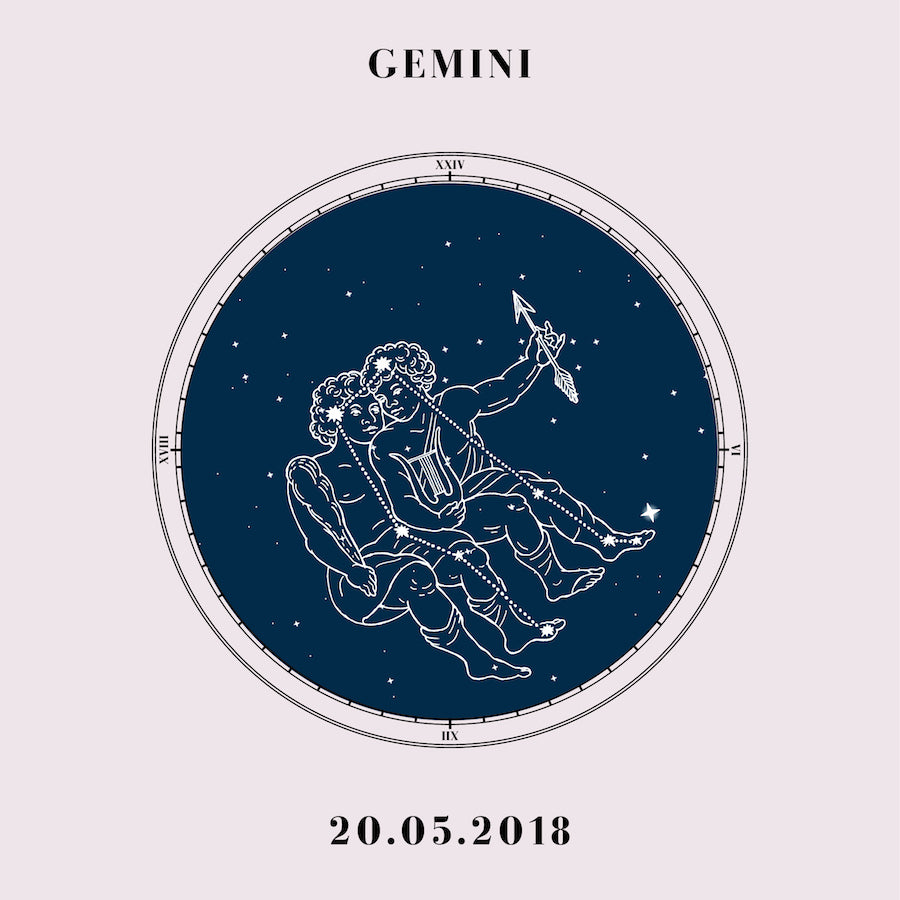 """Gemini"" - Zodiac Star Sign Nursery Art Print Close Up - Custom Baby Gifts"