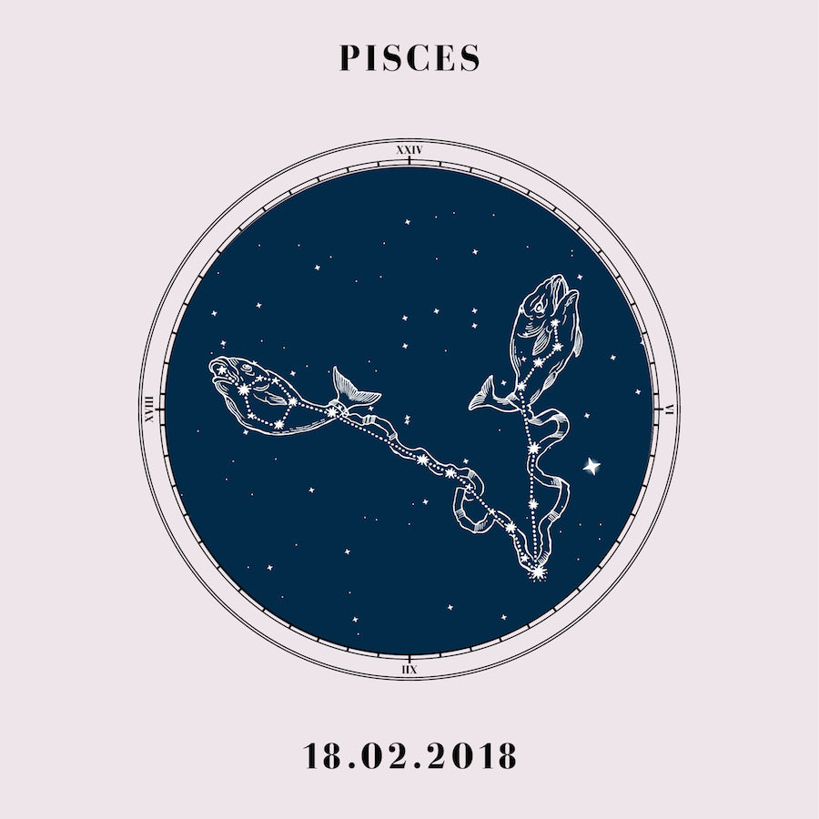 """Pisces"" - Zodiac Star Sign Nursery Art Print Close Up - Custom Baby Gifts"