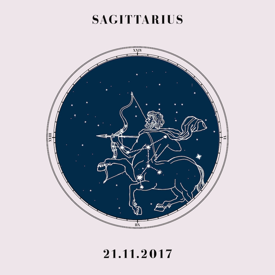 """Sagittarius"" - Zodiac Star Sign Nursery Art Print Close Up - Custom Baby Gifts"