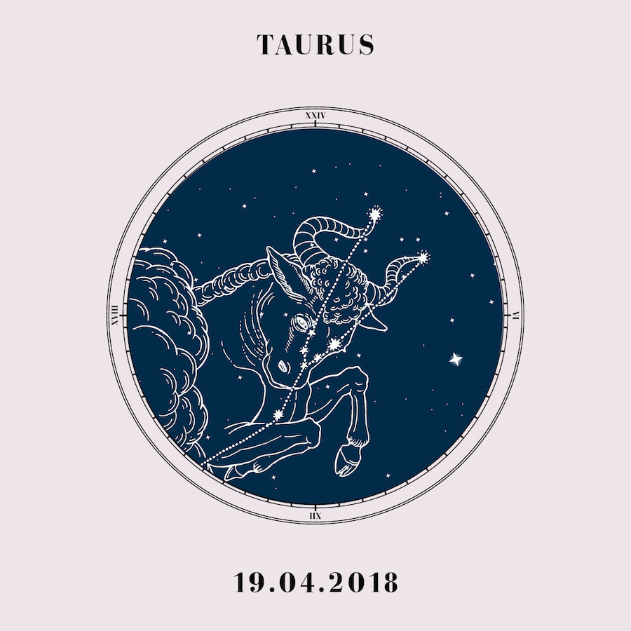 """Taurus"" - Zodiac Star Sign Nursery Art Print Close Up - Custom Baby Gifts"