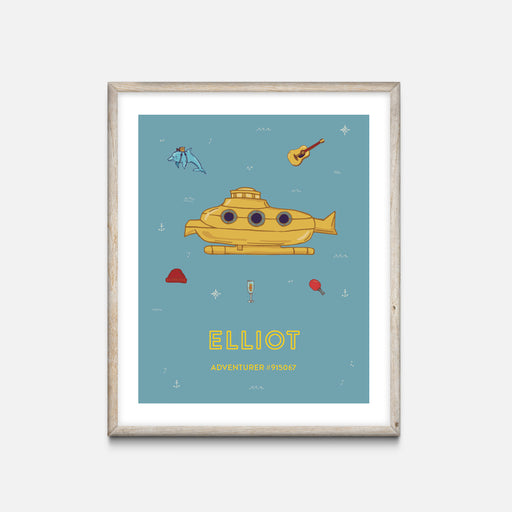 """Yellow Submarine"" Oak Frame - Wes Anderson Life Aquatic Inspired Art Print - Custom Baby Gifts"