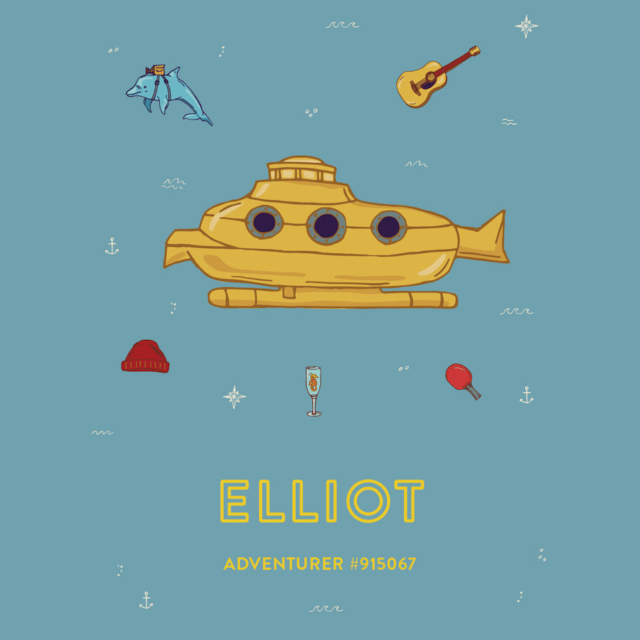"""Yellow Submarine"" Close up - Wes Anderson Life Aquatic Inspired Art Print - Custom Baby Gifts"