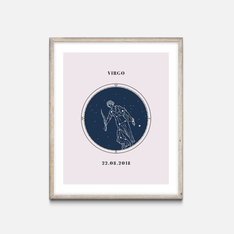 """Virgo"" - Zodiac Star Sign Nursery Art Print Oak Frame - Custom Baby Gifts"