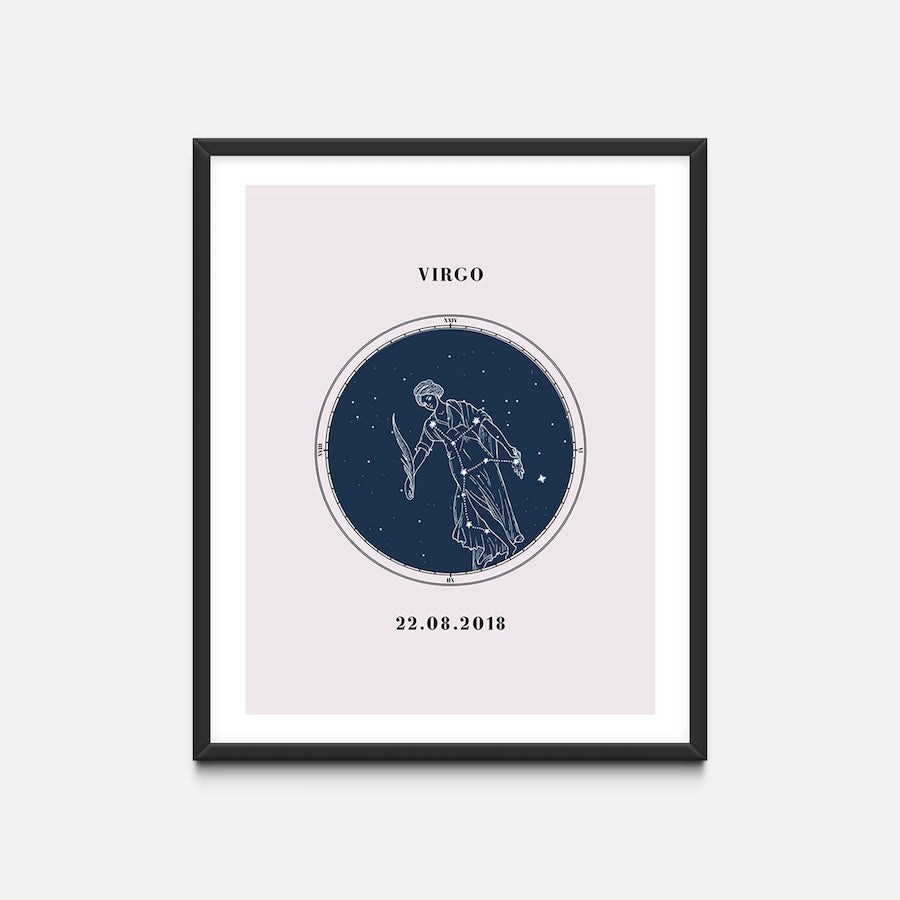 """Virgo"" - Zodiac Star Sign Nursery Art Print Black Frame - Custom Baby Gifts"