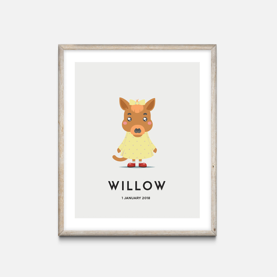 """Wallaby"" - Animal Nursery Print Oak Frame Grey - Custom Baby Gifts"