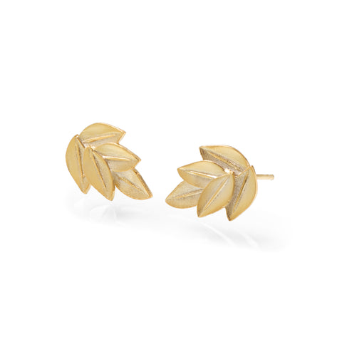 Five Leaf Acacia Studs Yellow Gold