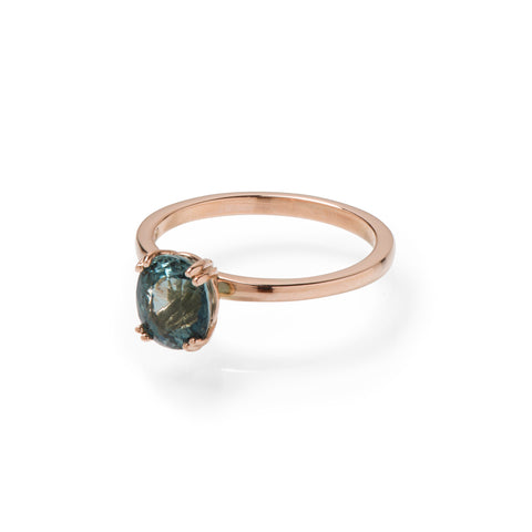 Botanica Bespoke Blue Oval Tourmaline and Rose Gold Ring