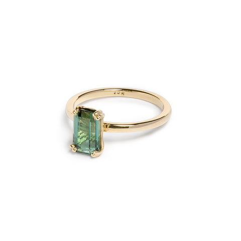 Yellow Gold and Blue/Green Tourmaline Ring