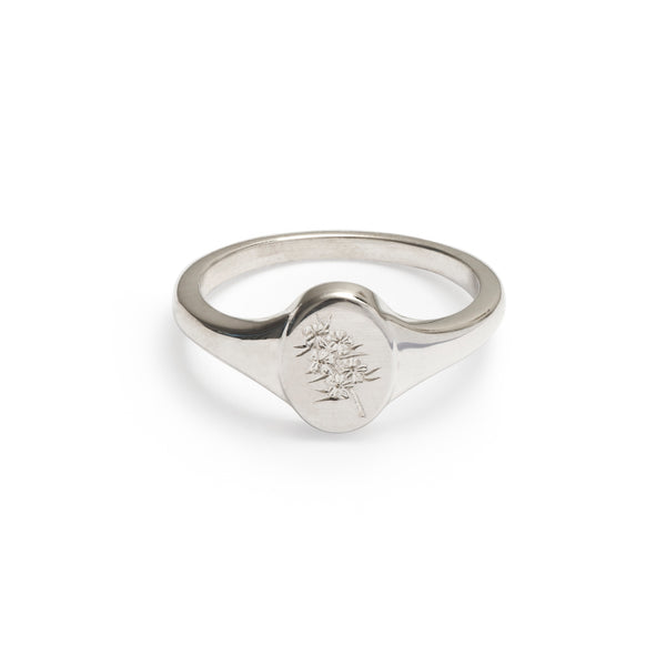 Confetti Bush Wild Flower Signet Ring Sterling Silver
