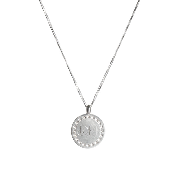 Hand Engraved Double Initial Necklace in Sterling Silver