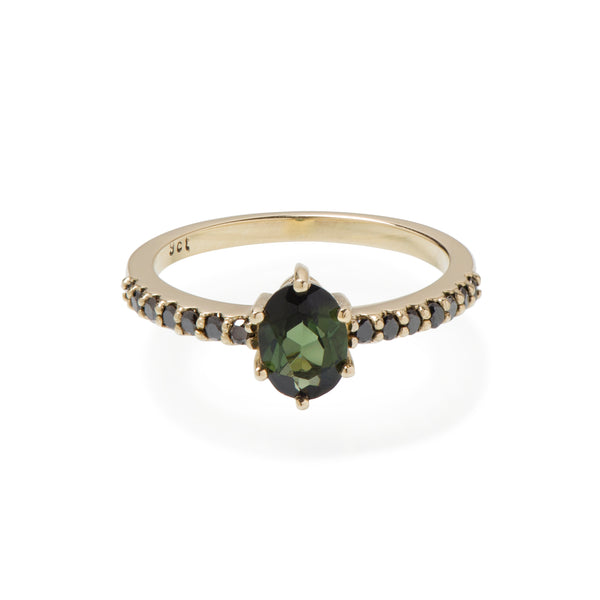 Green Oval Tourmaline and Black Diamond Yellow Gold Ring