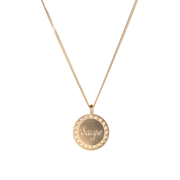 Hand Engraved Name Necklace in Yellow Gold