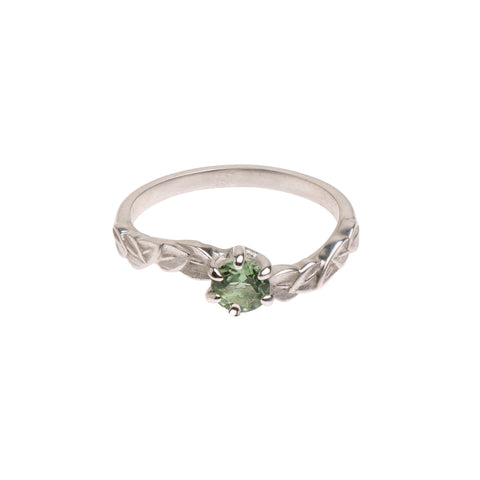 Six Claw Green Tourmaline and Sterling Silver Leaf Ring