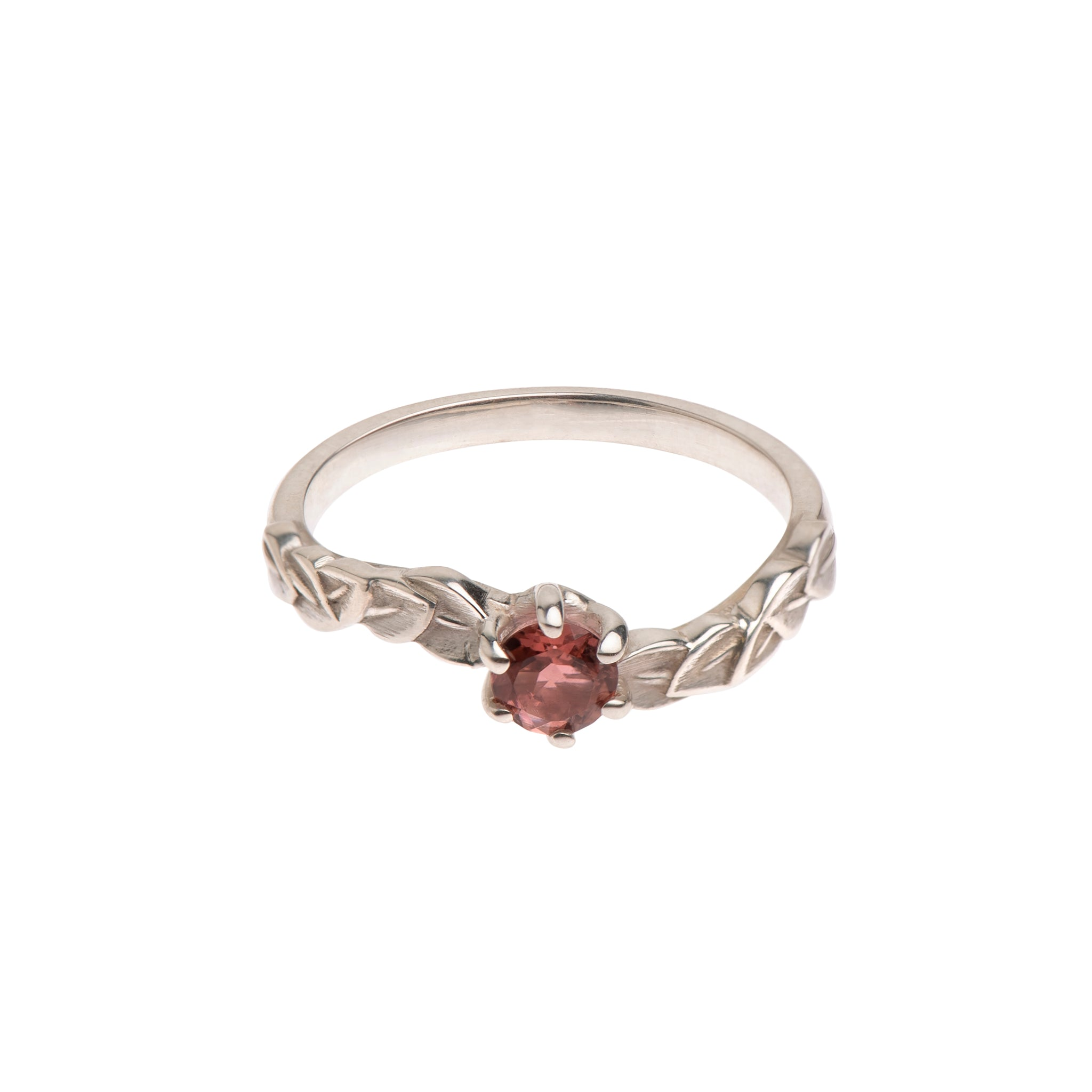 Six Claw Pink Tourmaline and Sterling Silver Leaf Ring