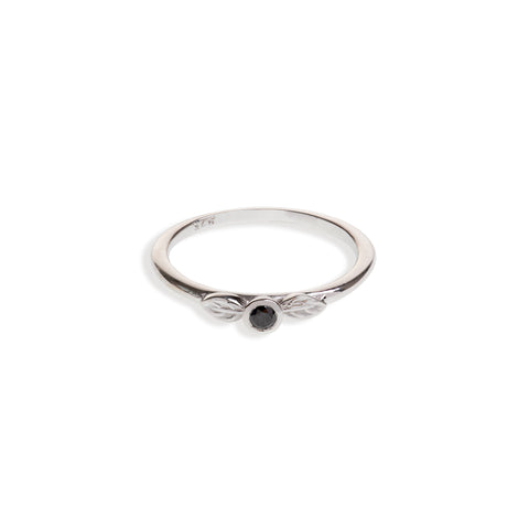 Sterling Silver Two Leaf Ring With Black Diamond