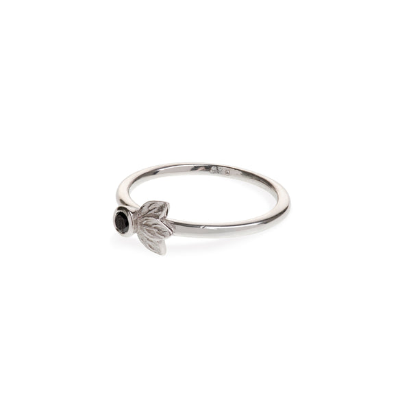 Sterling Silver Three Leaf Ring With Black Diamond