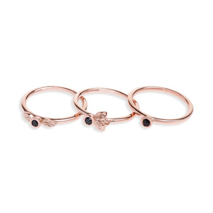 Rose Gold Stack Ring Set With Black Diamonds
