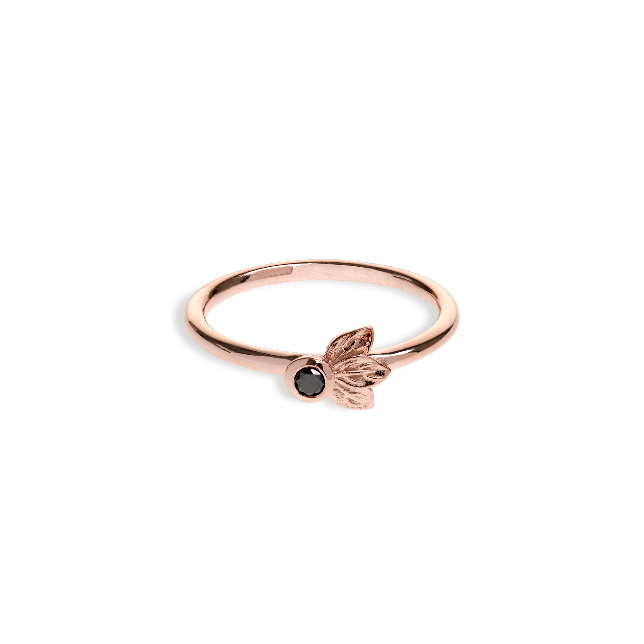 Rose Gold Three Leaf Ring With Black Diamond