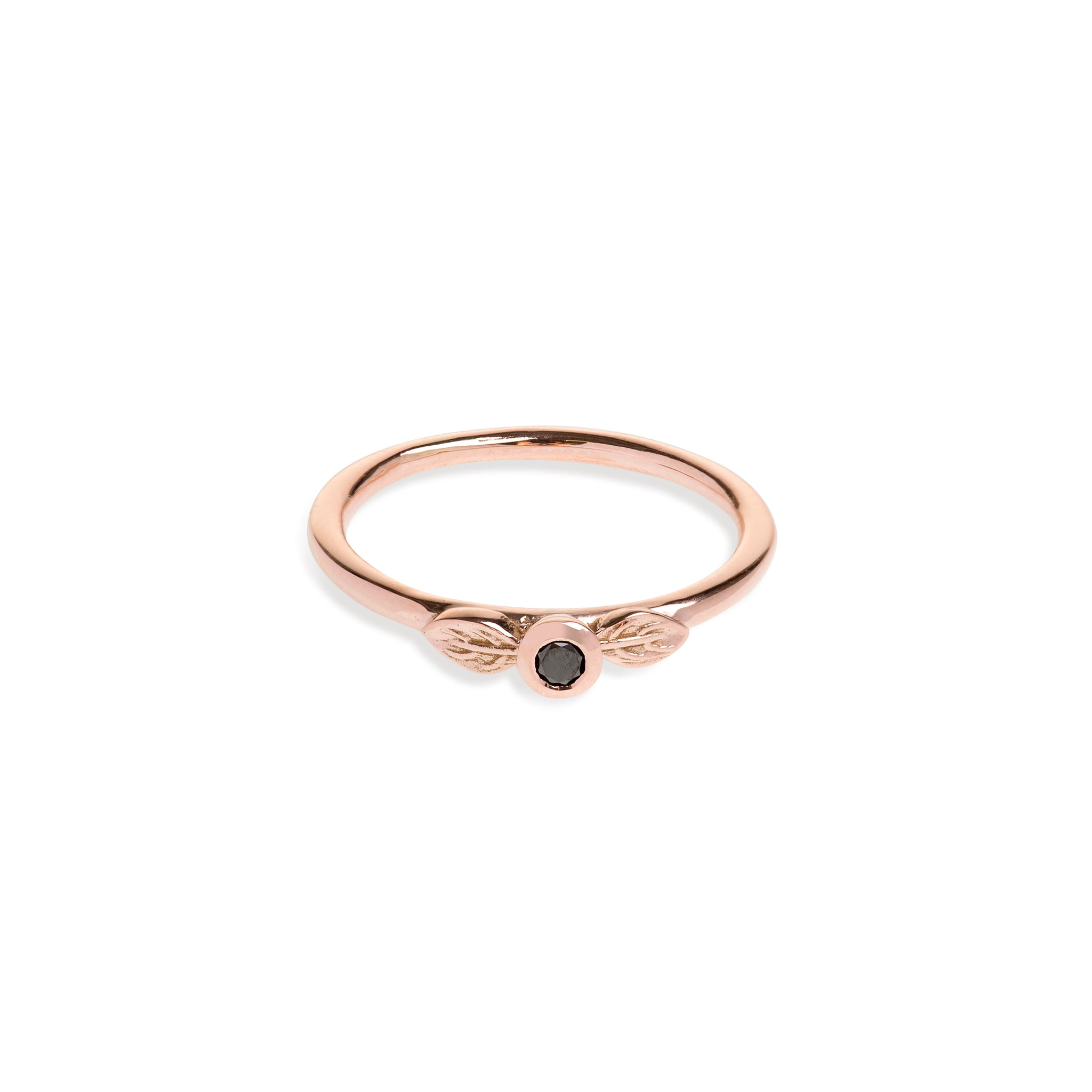 Rose Gold Two Leaf Ring With Black Diamond