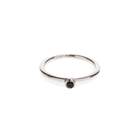 Sterling Silver Black Diamond Ring