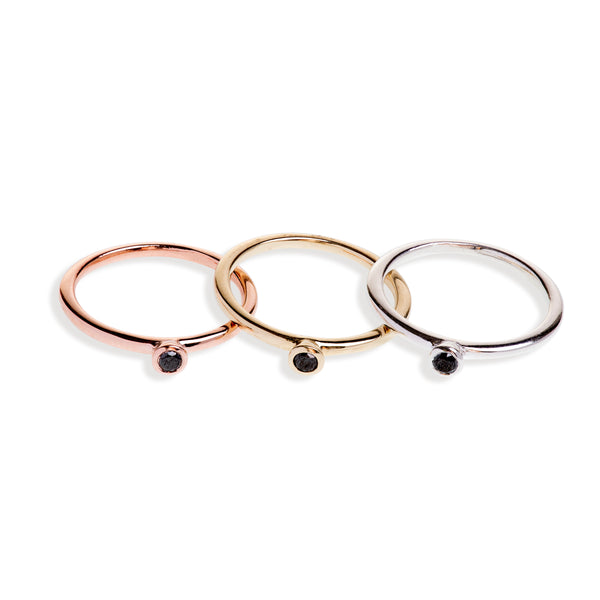Yellow Gold, Rose Gold and Sterling Stacking Set With Black Diamonds