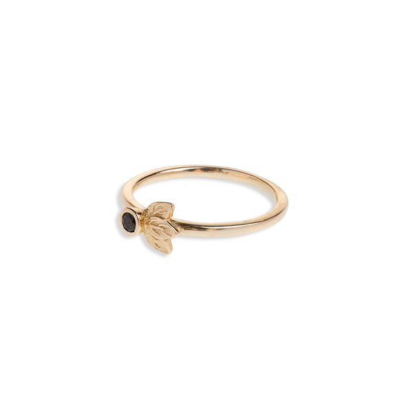 Yellow Gold Three Leaf Ring With Black Diamond