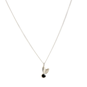 Two Leaf Sterling Silver Black Spinel Necklace