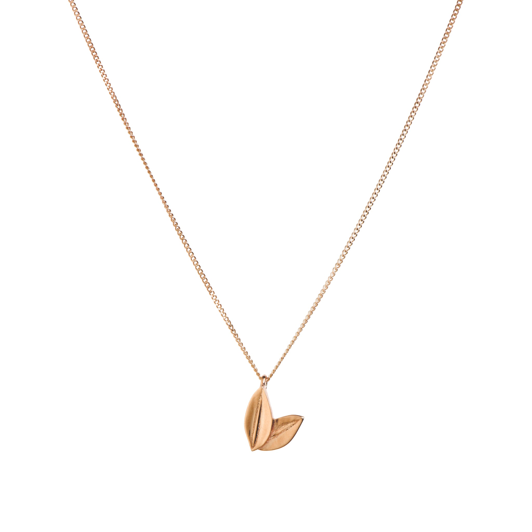 Two Leaf Necklace in Rose Gold