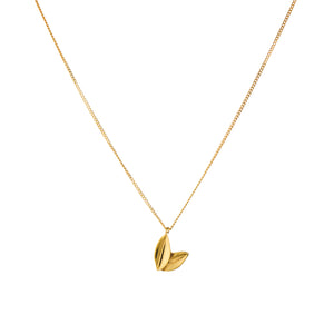 Two Leaf Necklace in Yellow Gold