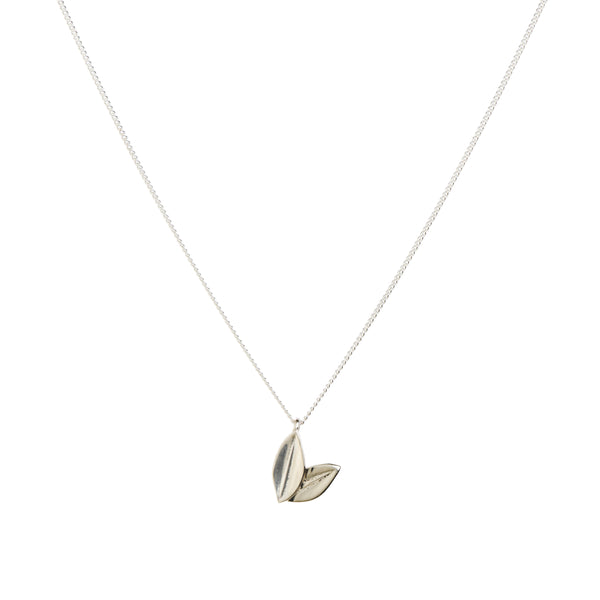 Two Leaf Necklace in Sterling Silver