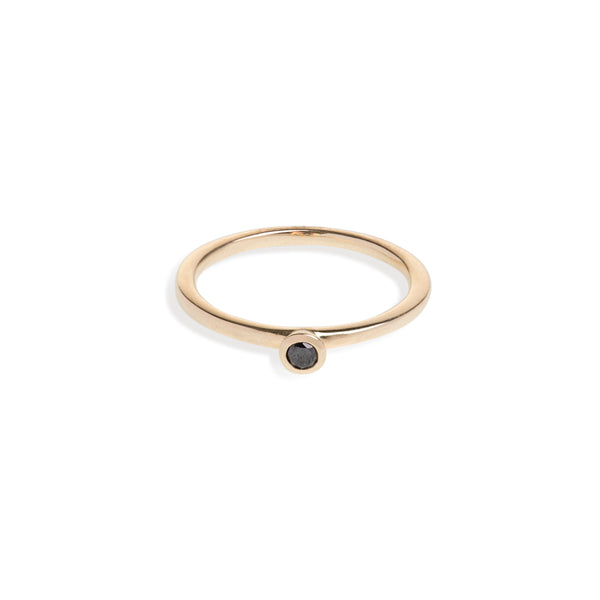 Yellow Gold Black Diamond Ring