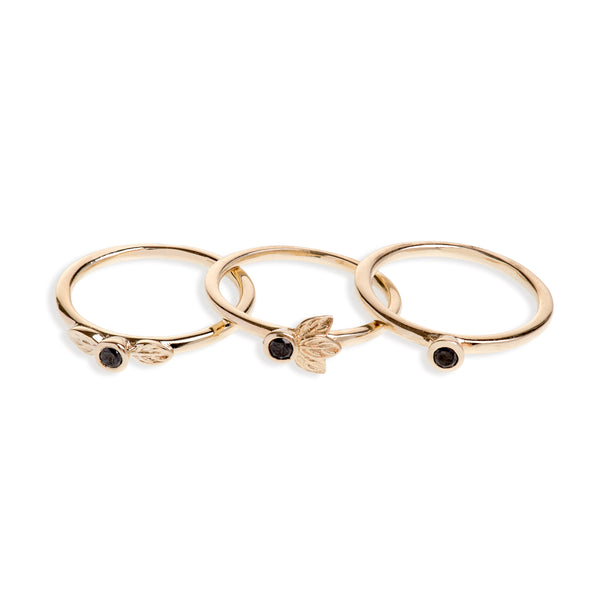 Yellow Gold Stack Ring Set With Black Diamonds