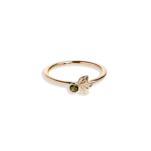 Yellow Gold Three Leaf Ring With Green Tourmaline