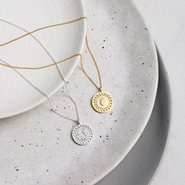 Hand Engraved Single Initial Necklace in Yellow Gold