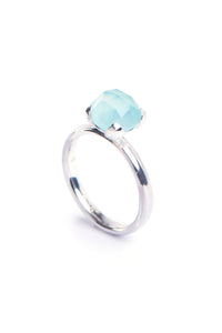 Blue Chalcedony Four Leaf Ring