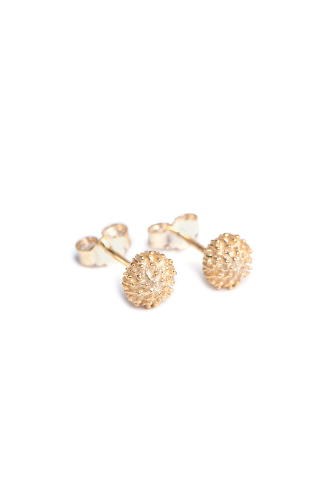 Stud style earrings manufactured in yellow gold inspired by South Africa's Protea Pincushion flowers