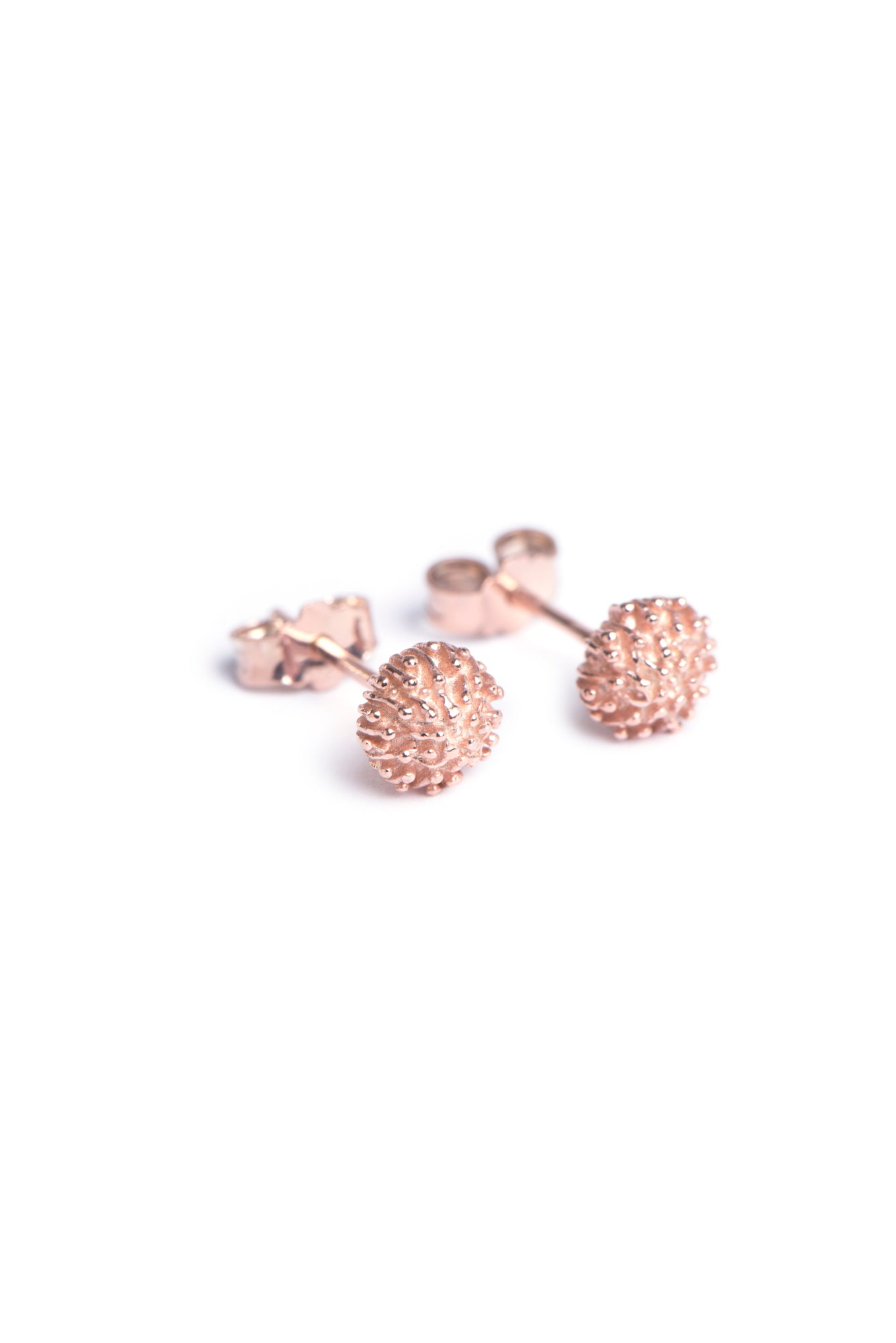 Protea Pincushion Studs in Rose Gold