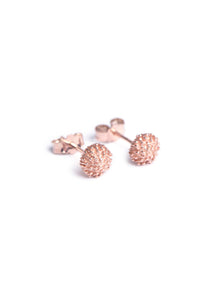Rose gold stud earrings inspired by South Africa's Fynbos Protea Pincushion flowers