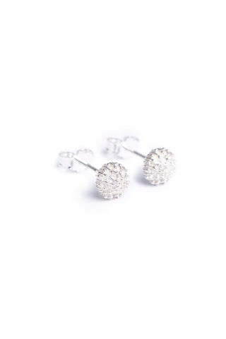 Sterling silver stud earrings inspired by South Africa's fynbos Pincushion flowers