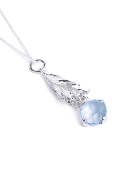 Blue Chalcedony and Protea Leaf Necklace