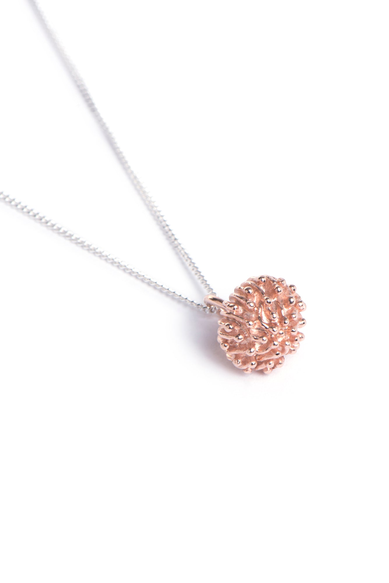 Rose Gold plated Sterling Silver Protea Pincushion necklace inspired by South Africa's Fynbos