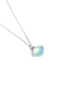 Blue Chalcedony Four Leaf Necklace