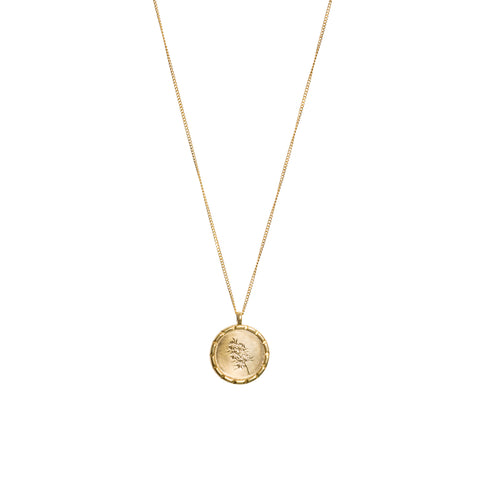 Confetti Bush Wild Flower Necklace Yellow Gold