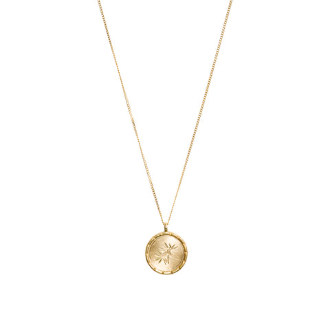 Felicia filifolia Wild Flower Necklace in Yellow Gold