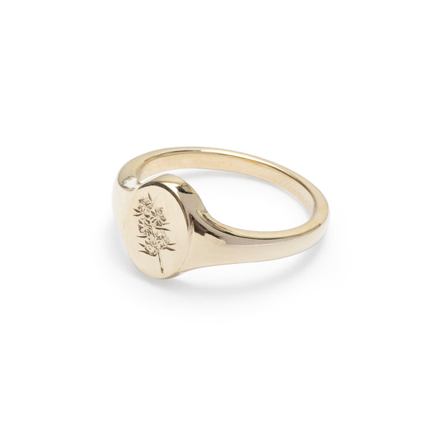 Confetti Bush Wild Flower Signet Ring Yellow Gold
